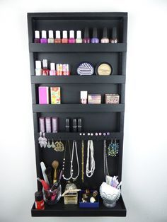 Makeup and jewelry organizer display nail polish rack beauty