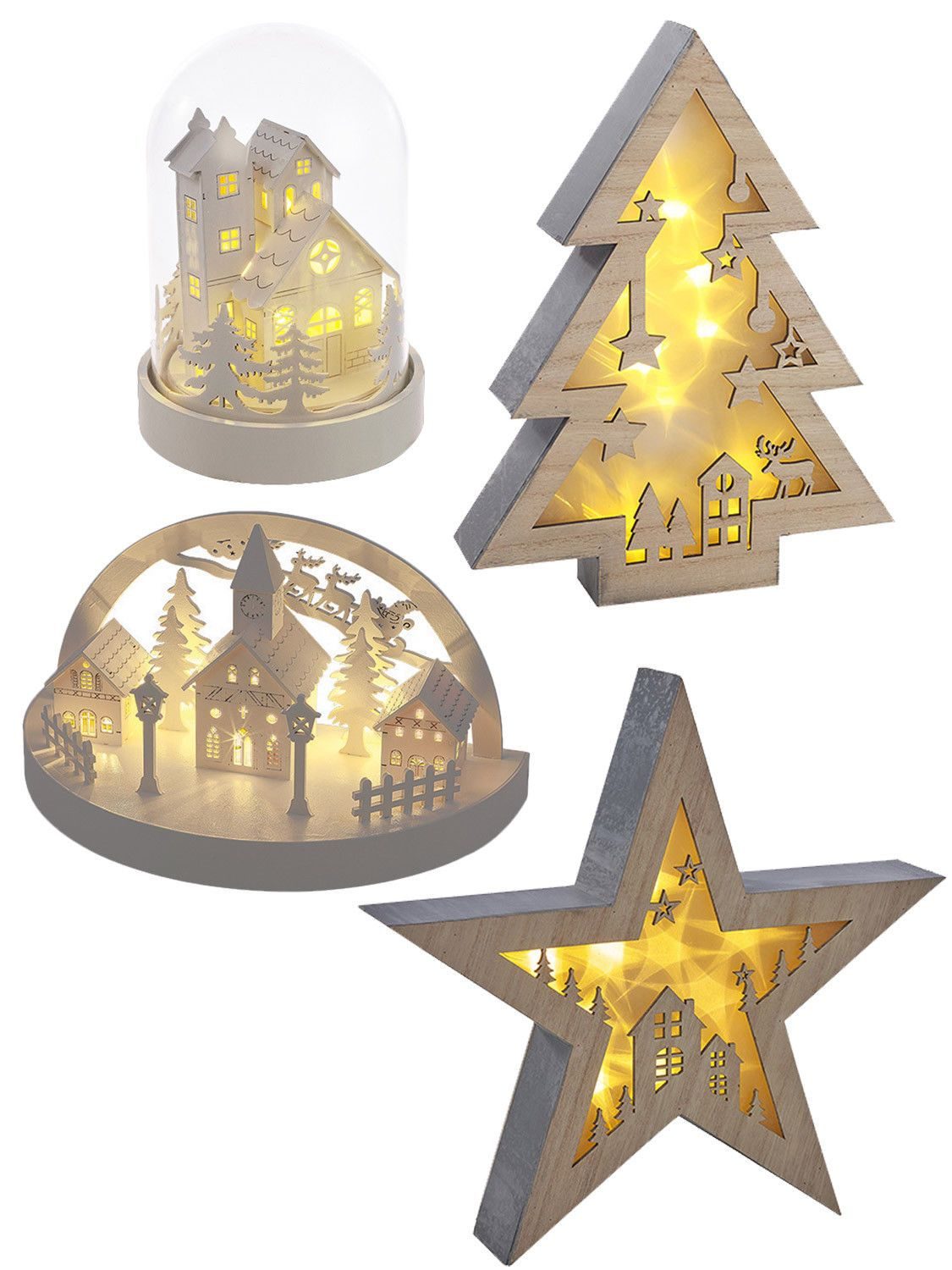 Warm white wooden light up christmas decoration led village star