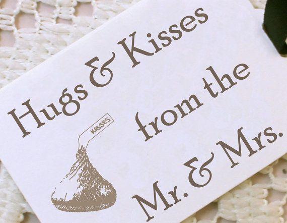 No Thank You For Wedding Gift: Hugs And Kisses Wedding Favor Tags