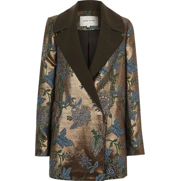 River Island Gold jacquard floral blazer coat ($180) ❤ liked on Polyvore featuring outerwear, coats, gold blazer jacket, tall blazer, lapel coat, gold coat and floral jacket blazer