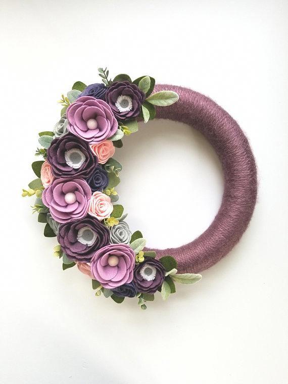 Photo of Modern Wreath – Summer Wreath – Felt Flower Wreath – Yarn Wreath – 14 Inch Wreat…
