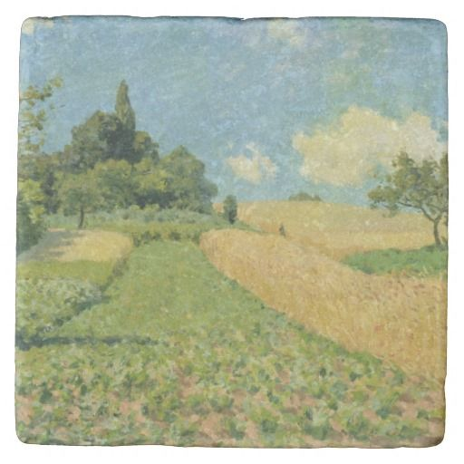 Alfred Sisley The Cornfield Stone Coaster Zazzle Com Stone Coasters English Artists Coasters
