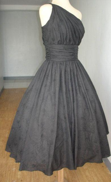 Schöne 50er Jahre Stil Cocktailkleid aus schwarzer von elegance50s ...