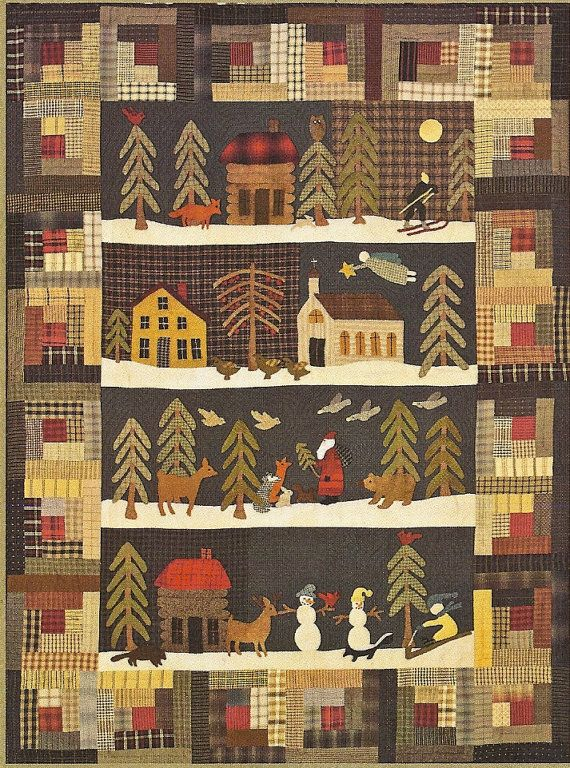 Primitive Folk Art Quilt Pattern Silent Night By Primfolkartshop 17 95 Primitive Quilts Holiday Quilts Wool Quilts