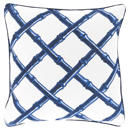 Lend a pop of pattern to your sofa, arm chair, or window seat with this stylish cotton pillow, showcasing a bamboo-inspired lattice motif in cobalt and ivory...