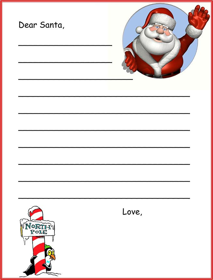 Colourful Template For Letter To Santa Claus