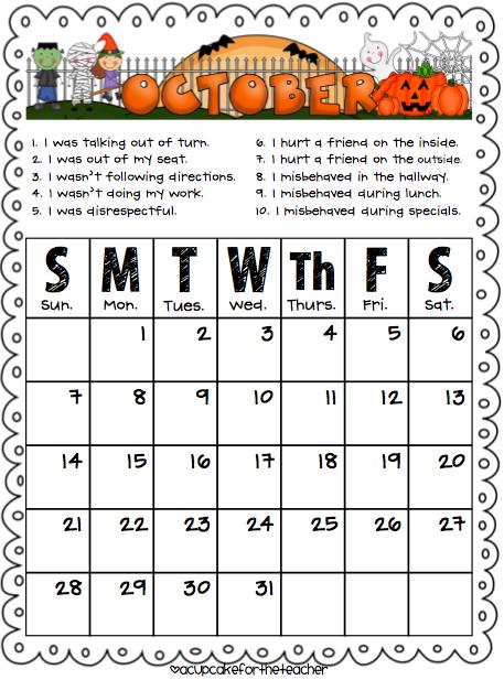 Kindergarten Calendar Folders : Monthly behavior calendar to stay in the take home folder