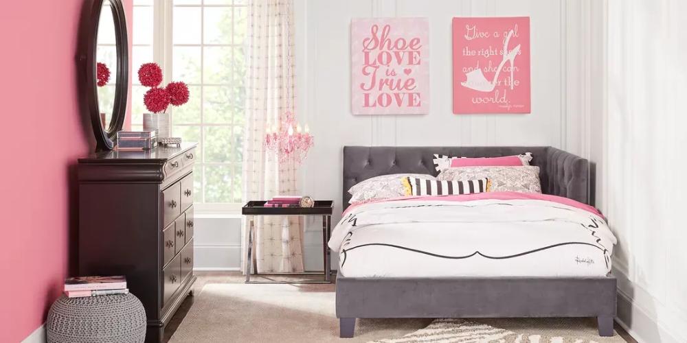 kids oberon black 5 pc full bedroom with charcoal corner