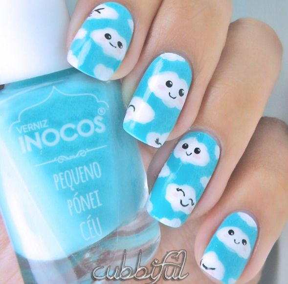Kawaii cloud nail art | Nailed It | Pinterest | Pastel nails