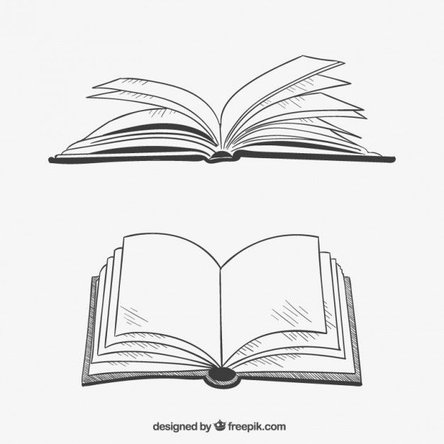 Opened Books In Hand Drawn Style Book Clip Art Book Silhouette Open Book Drawing