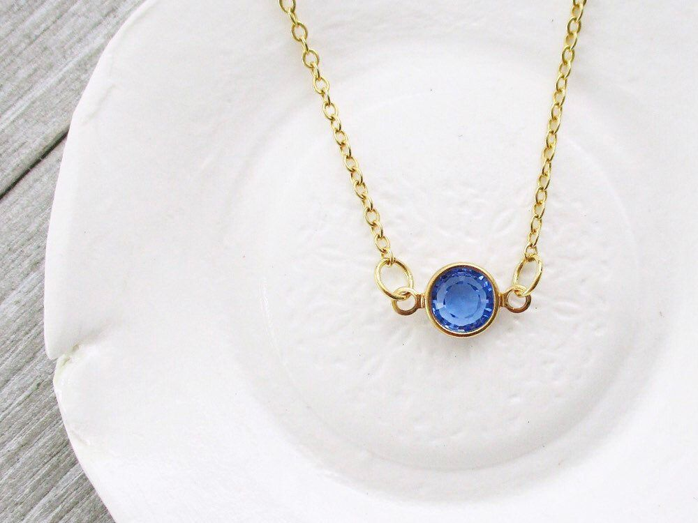 Genuine Sapphire Necklace Gold Sapphire Drop Necklace Threaded Sapphire Gold Necklace