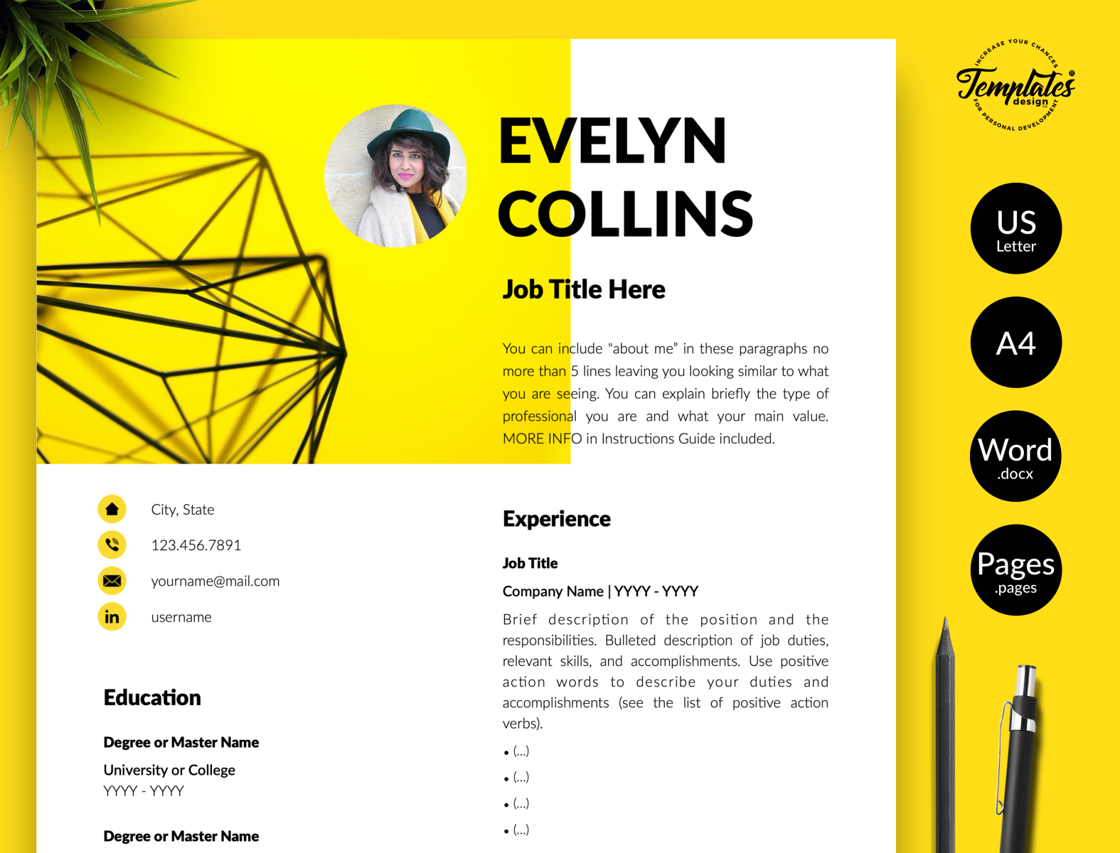 free yellow resume template in 2020