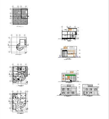 Villa dwg - 3 plans autocad architecturals cours de genie civil