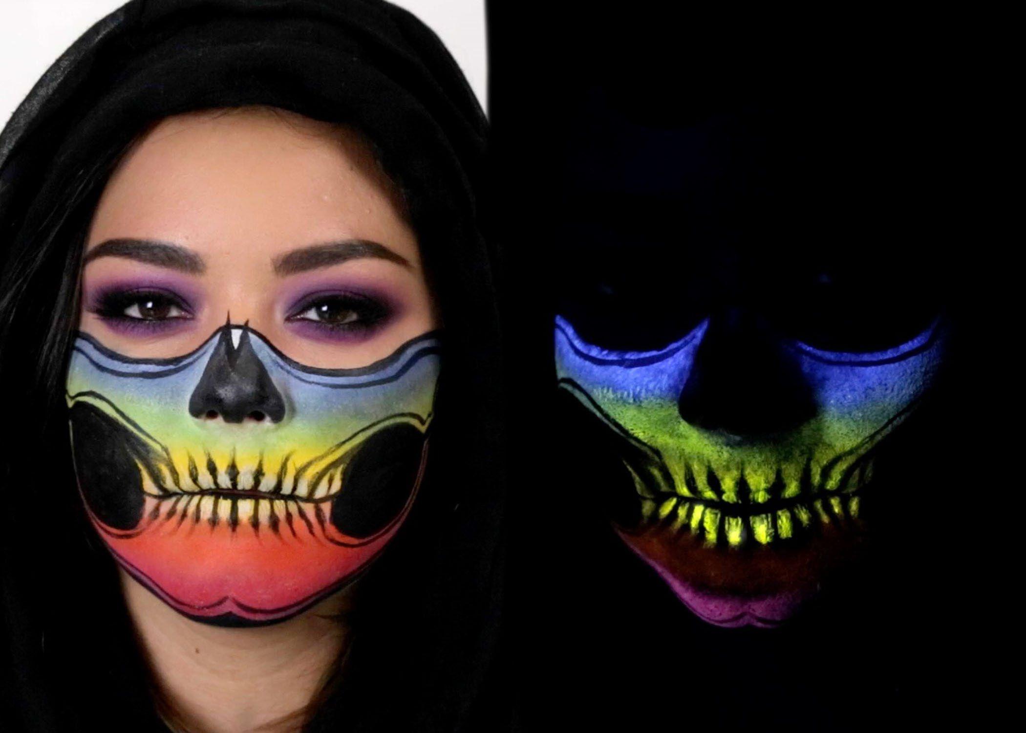 Skeleton Face Mask Glow In The Dark Halloween Makeup