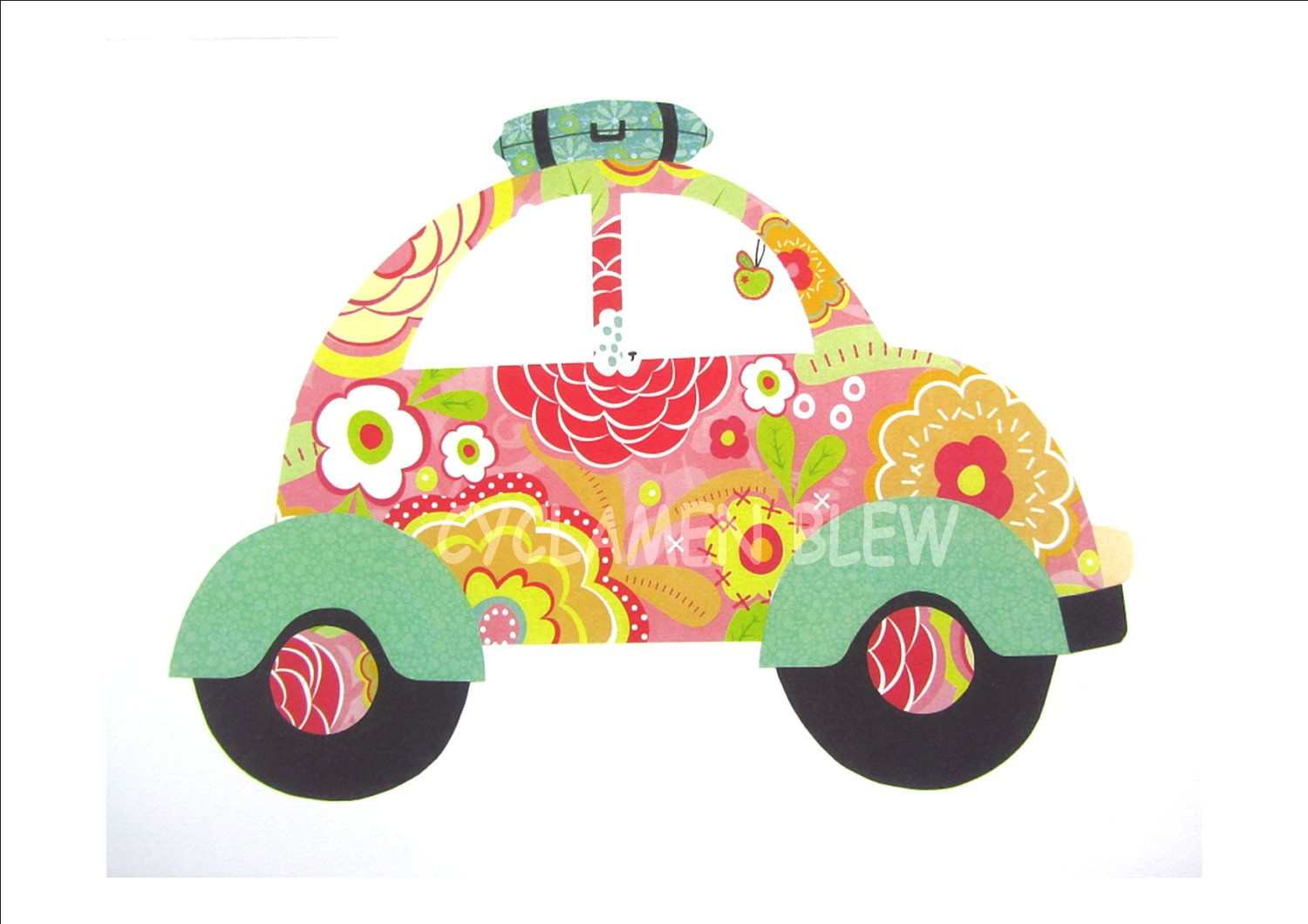 hippie car flower design wall decor | School- Classroom ...