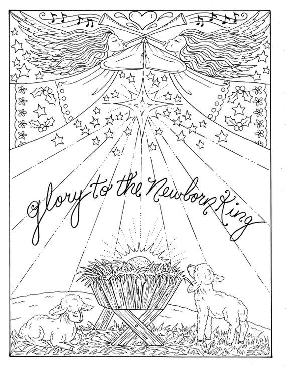 instant download 5 pages christmas coloring christian