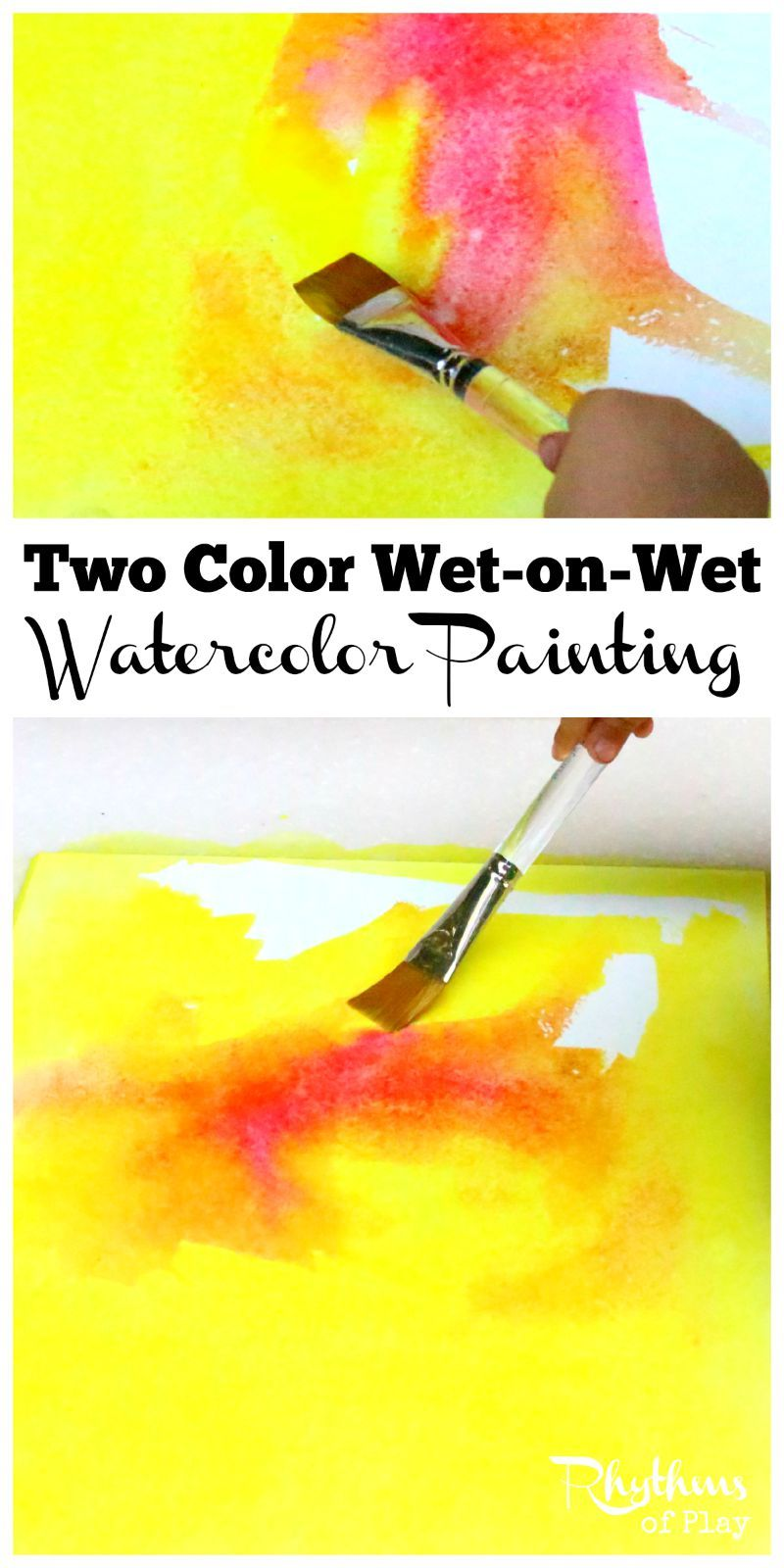 Two Color Wet On Wet Watercolor Painting Watercolor Paintings
