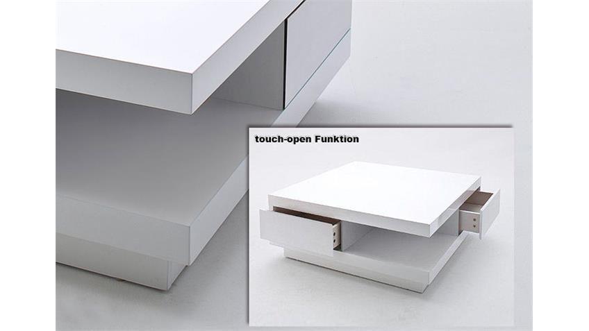 Couchtisch Abby Mit Touch Open Funktion Lack Weiß 85x85 Tisch