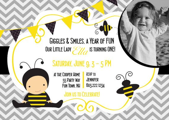 Bumble bees birthday invitation first birthday bees party invitation bumble bees birthday invitation first birthday bees party invitation 1st birthday bees yellow black grey chevron photo card any age filmwisefo Images