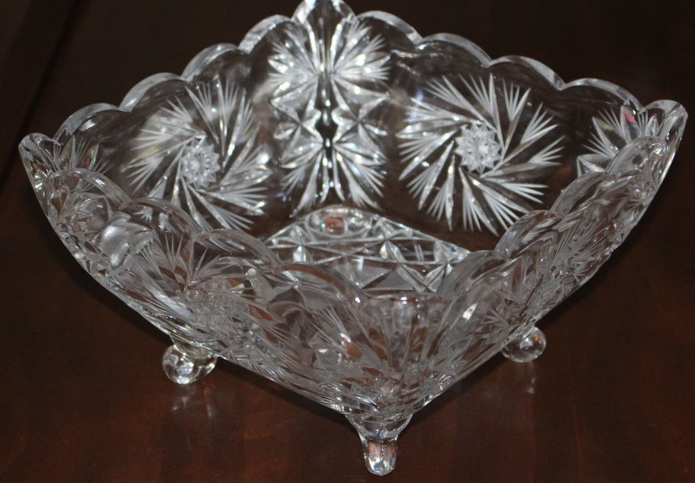 Vintage Fluted Ruffled Paneled Heavy Lead Crystal Bowl