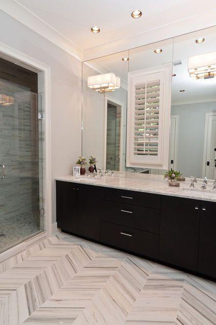 Herringbone Carrera Marble Floor Via Houzz Contemporary Bathroom By Anna Baskin Lattimor Black Marble Bathroom Bathroom Floor Plans Marble Bathroom Designs
