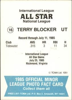1985 TCMA International League All-Stars #16 Terry Blocker Back