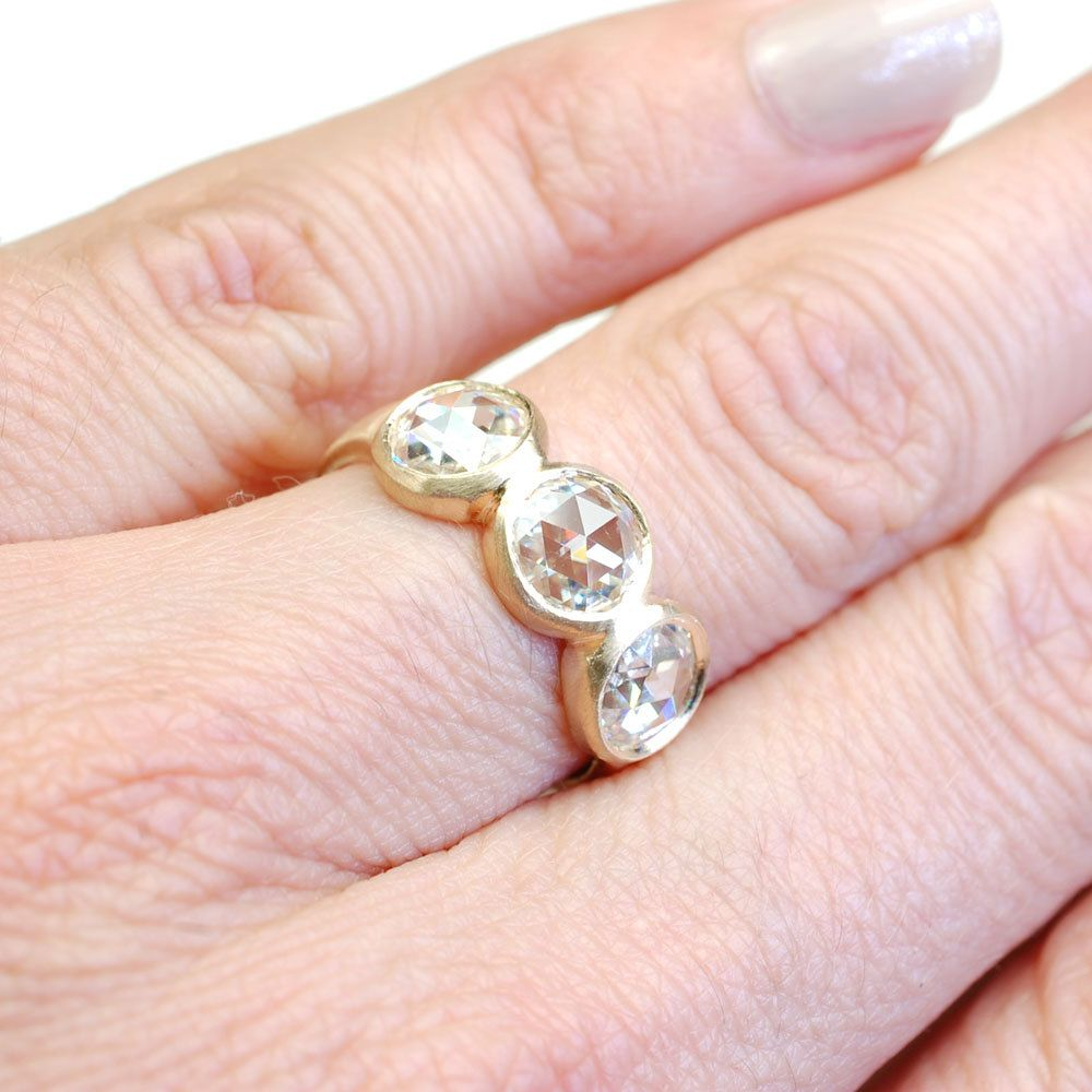 Rose Cut Moissanite Ring, Engagement Ring, Moissanite Ring, Rose Cut ...