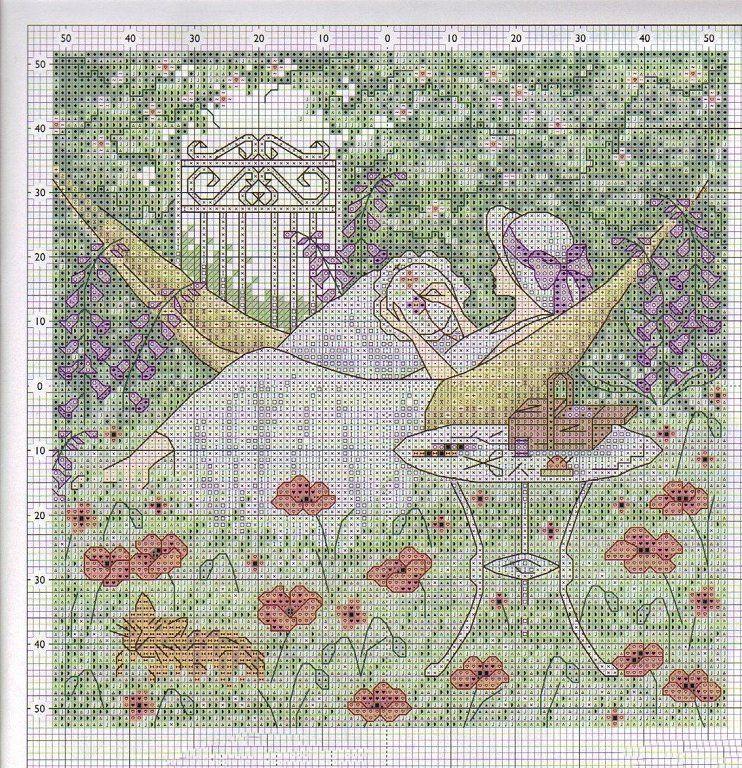 hamaca en el jardín 1 - Punto de cruz, Punto de cruz flores