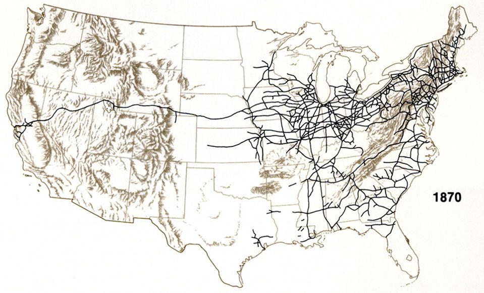 Map Of Railroad Expansion Across The US Maps Pinterest - Us railroad map 2015