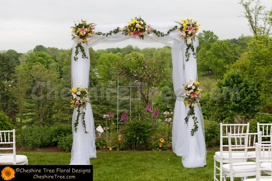 arch made with tule wedding arch designs