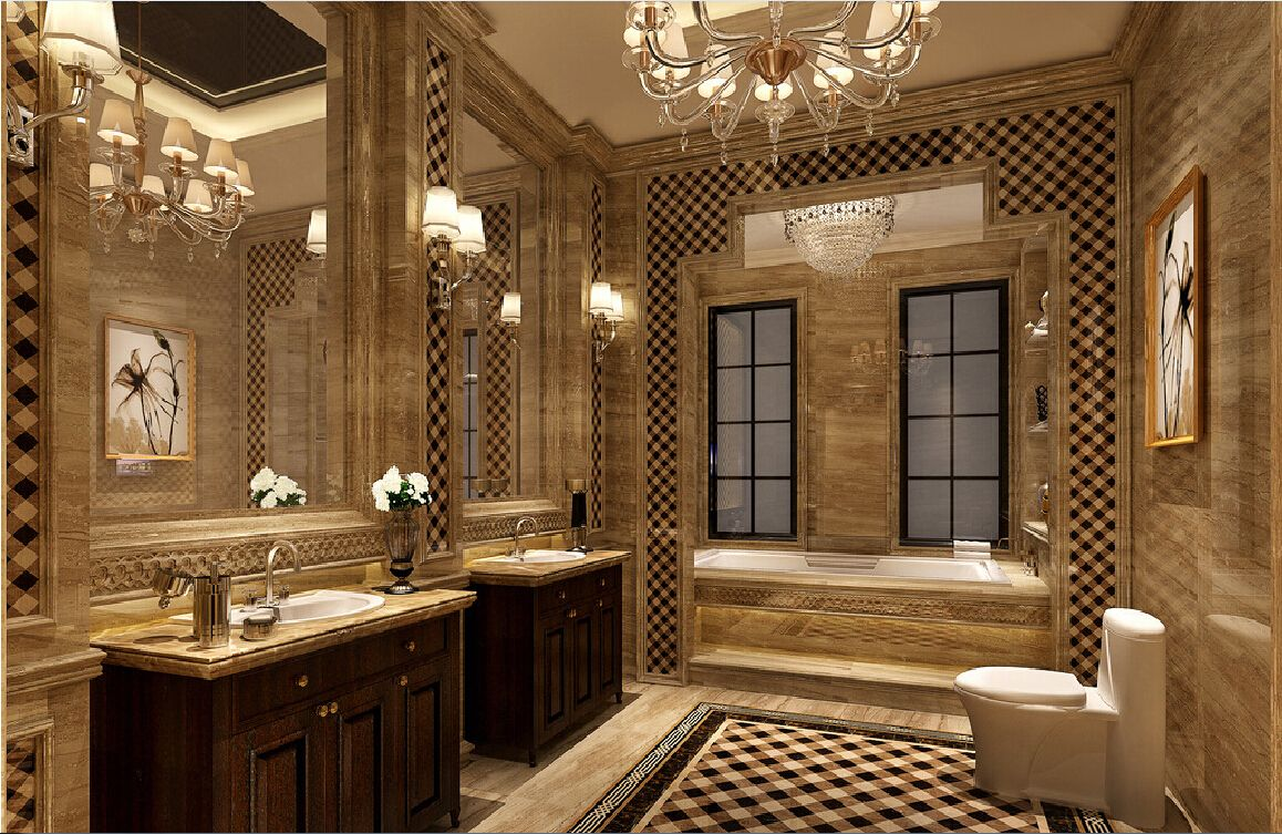 New classical bathroom walls marble panels bathrooms for Bathroom design uae