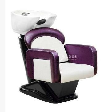 Hair Salon Seated Flush Bed Ceramic Basin Barbershop Half Lying Type Mobile Shampoo Chair Commercial Furniture Chairs For Sale Salon Furniture