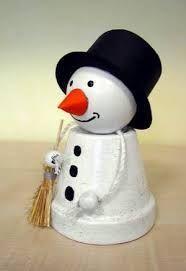 Flower Pot Snowman, DIY, Terra Cotta Planters, Clay Pots, Garden Art, Garden Con - Weihnachten - #art #Clay #Con #Cotta #DIY #Flower #Garden #Planters #Pot #Pots #Snowman #Terra #Weihnachten #flowerpot