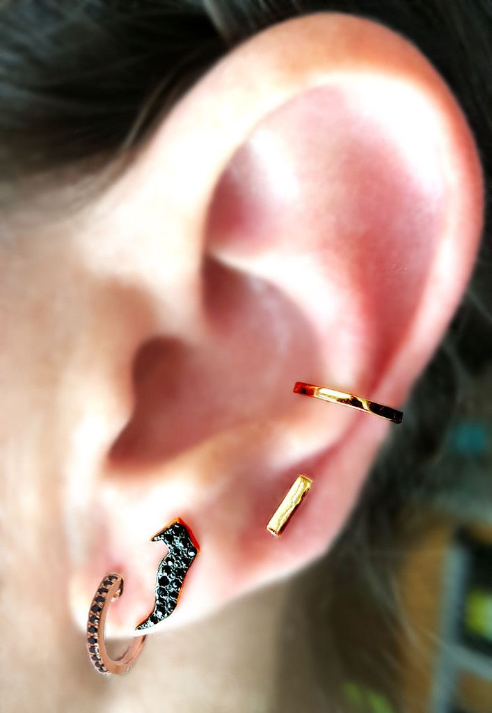 e411c4500 Black Diamond and Rose Gold Mini Hoop Earrings and Initial Stud Earring  with 14K Solid Gold Ear Cuff and Mini-Bar Stud Earring. Curated by The  EarStylist by ...