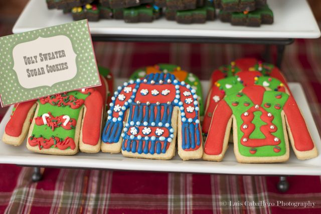 Check out these cookies at an Ugly Sweater Christmas party!  See more party ideas at CatchMyParty.com!  #partyideas #christmas