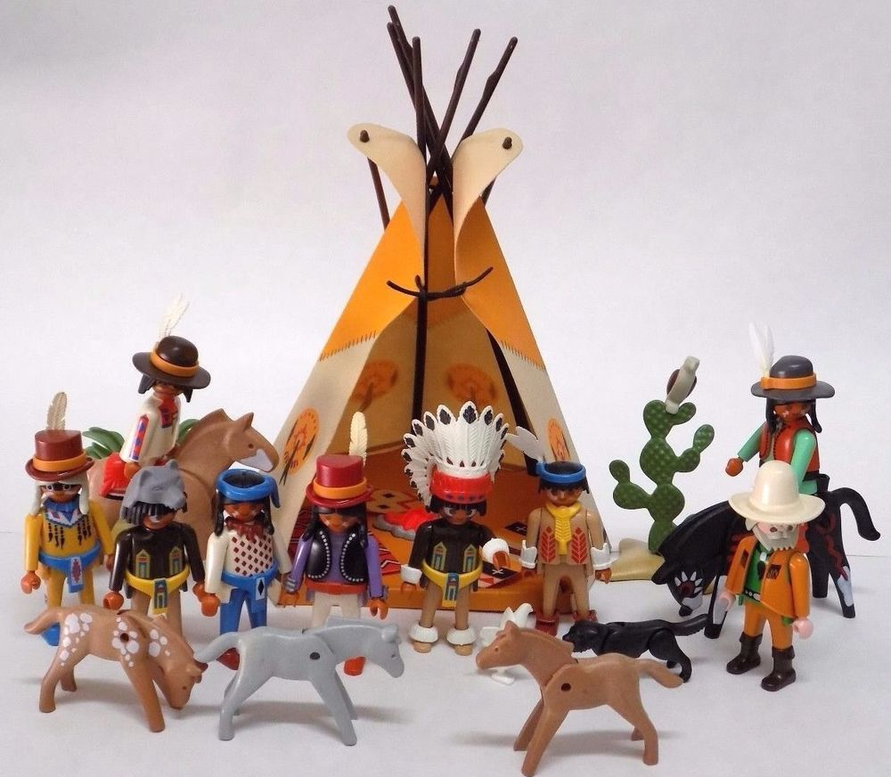 Playmobil Teepee Play Set Wild West Western Cowboys Indians Horse Animals Tipi Indian Horses Playset Wild West