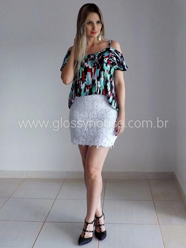 BLUSA-COLORIDA-SAIA-RENDA-BRANCA-3   moda   Pinterest   Fashion ... f3d9362ef8