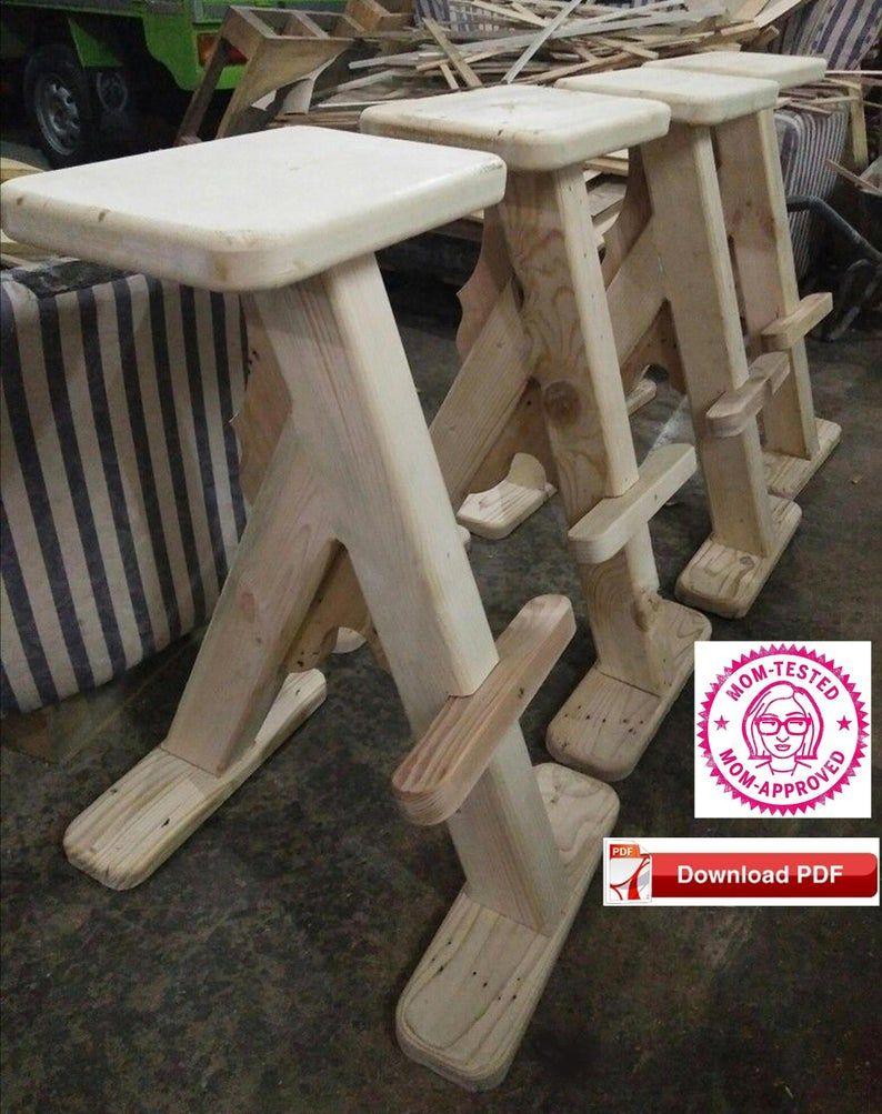 24 Inch Bar Stool Plan Craft Stool Plan Wood Stool Etsy In 2020