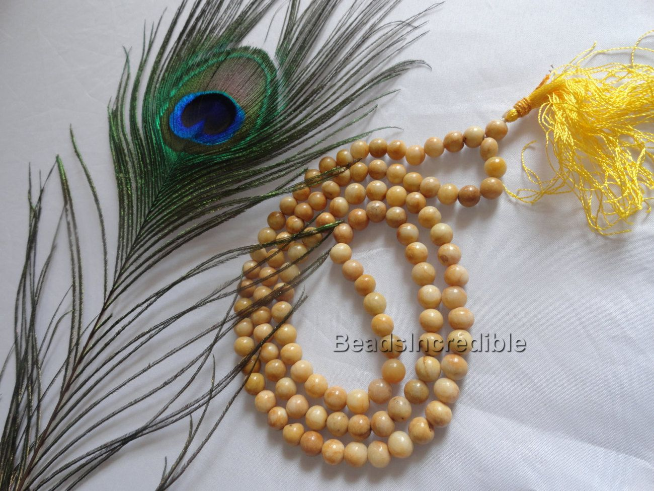 Light Golden Agate Necklace Agate Beads Golden 8MM 108 Round Beads Natural Rosar  $19.95