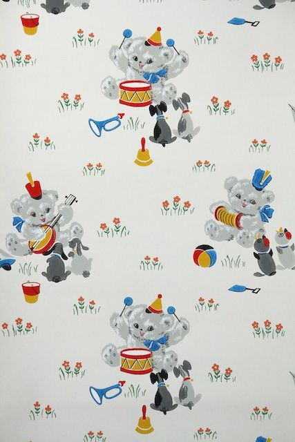 1930s Vintage Wallpaper By The Yard Children S Wallpaper With