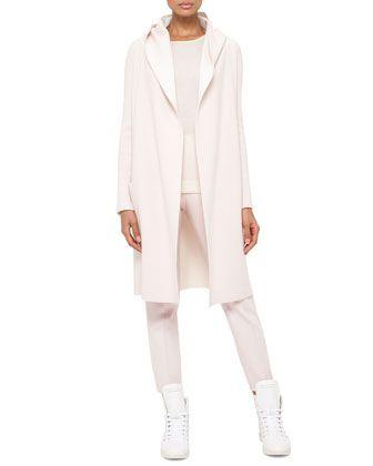 Long Oversized Reversible Cashmere Cardigan Coat, Long-Sleeve Cashmere/Silk Jewel-Neck Pullover