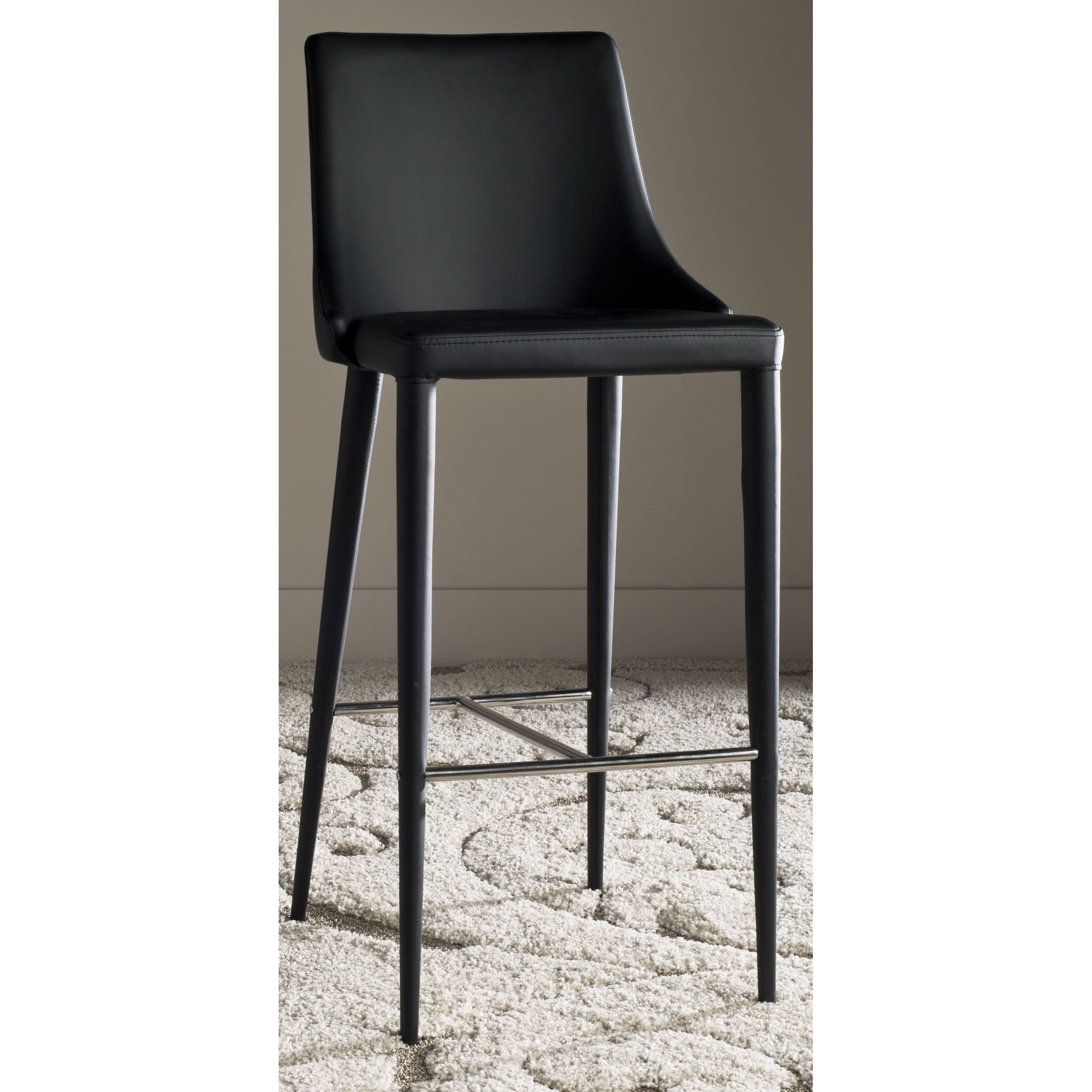 Safavieh Mid Century Dining Summerset Modern 42 Inch Black Leather Bar Stool