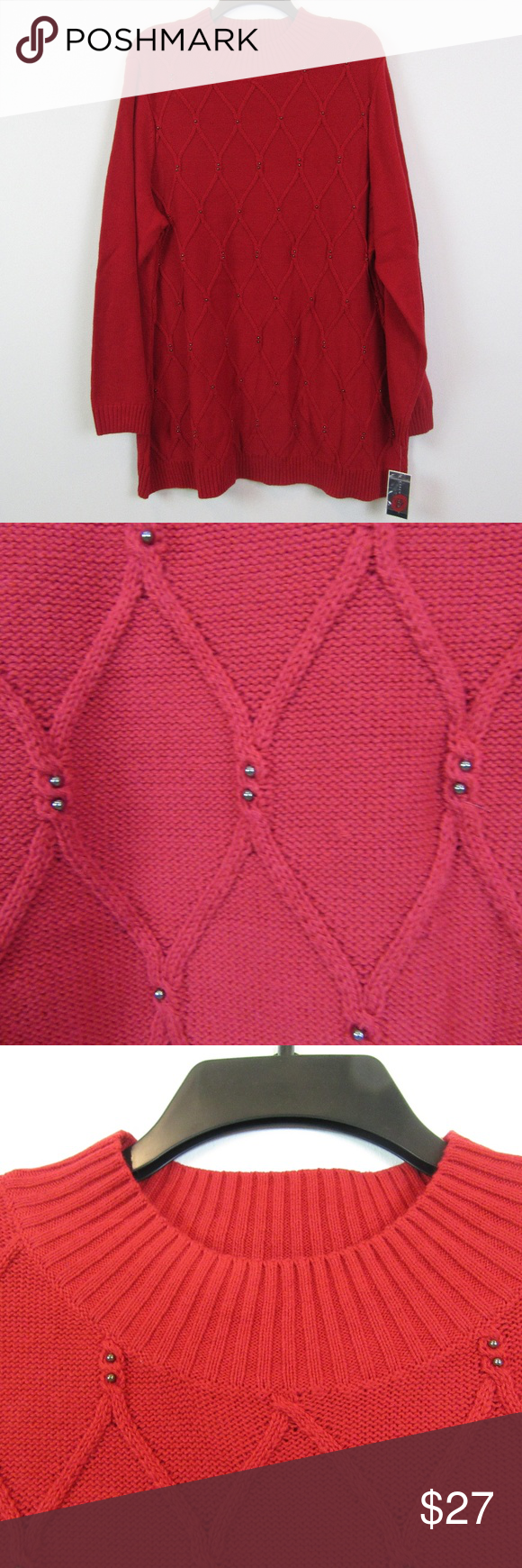 """Karen Scott 2X Red Sweater NEW L2-F3-03 Brand: Karen Scott  Size: 2X Color: New Red Amore Fabric: 60% Cotton Care Instructions: Machine Washable Details: Beaded Cable knit Front  Measurements taken by hand and are approximate: Bust: 26-27"""" Length From Shoulder: 30-31"""" Karen Scott Sweaters Crew & Scoop Necks"""