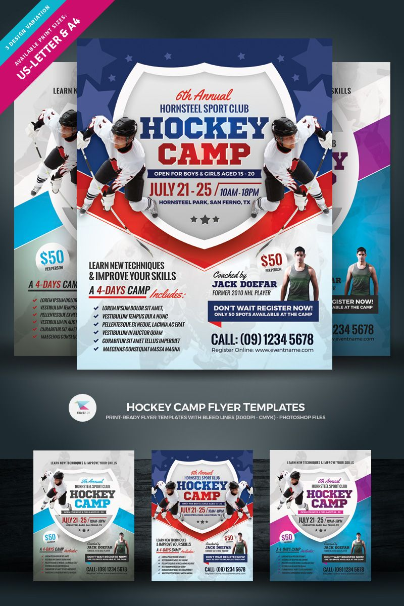 Hockey camp flyer poster template design in 2021