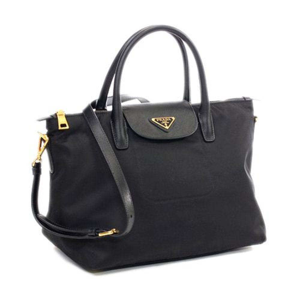 698eef40dc75 shoulder bags: Prada BN2106 Black Tessuto Nylon Saffiiano Leather Tote Bag