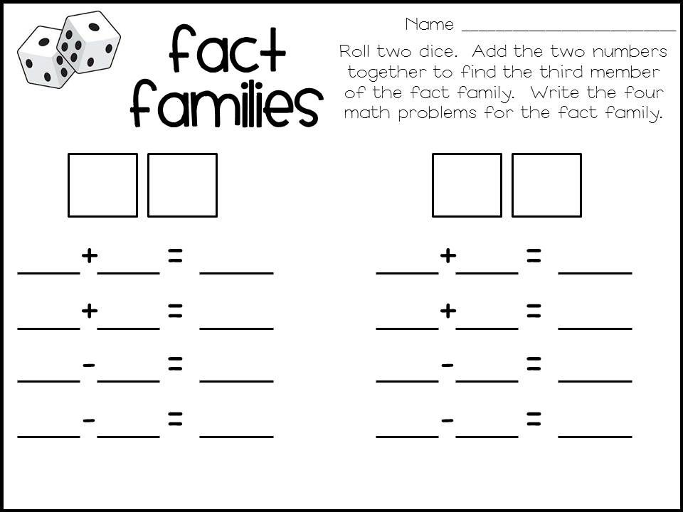 Keep on Rollin Dice Games – Math Family Facts Worksheets