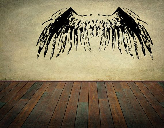 Angel Wings Wall Decal Set Wall Stickers Bird Wings Feathers Wall ...