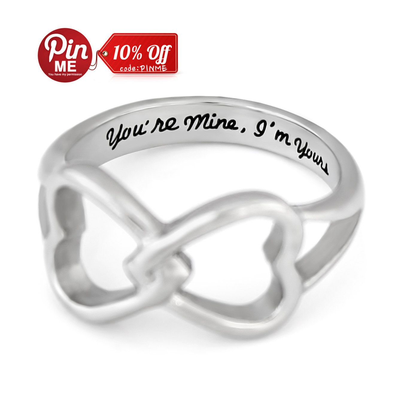 Double Hearts Infinity Ring, Promise Ring Wedding Band Ring \