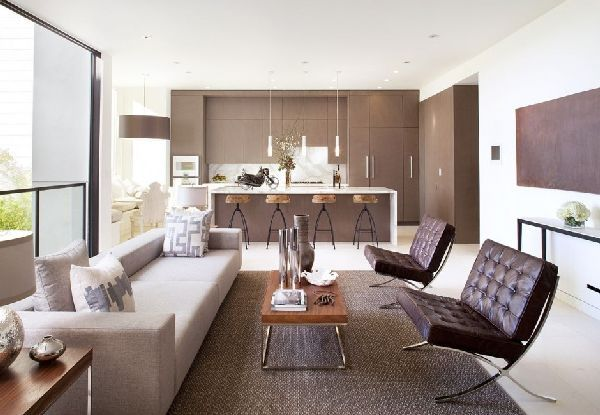 family room furniture and interior in Modern House with Deck and