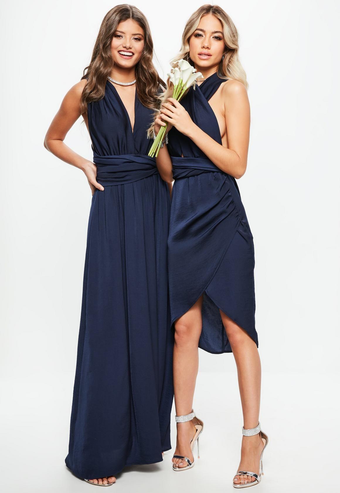 24eca2fe96b Missguided - Bridesmaid Navy Satin Multiway Maxi Dress